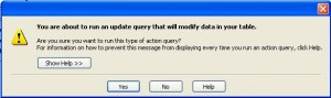 MS Access Action Query Confirmation Prompt Message