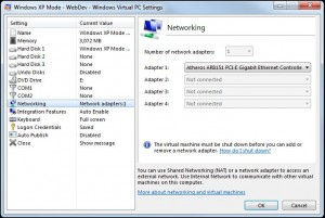 Virtual Machines Networking Settings