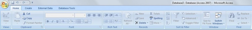 MS Access Ribbon - Home Tab