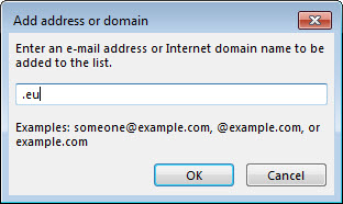 Outlook 2013 - Junk E-mail Options Add address or domain to blocked sender listing