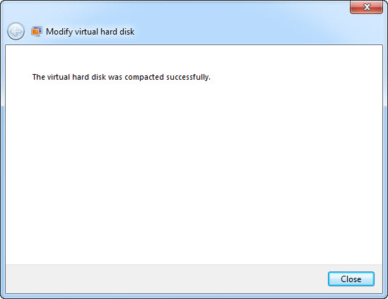 Virtual Hard Disk Compaction Successful
