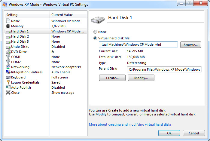Windows Virtual PC Settings