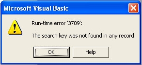 Run-time error 3709 - The search key was not found in any record.