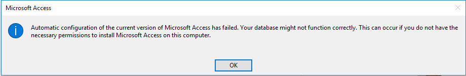MS Access - Bug - Automatic configuration of the current version of