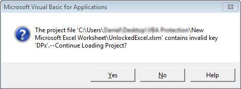excel vba project password